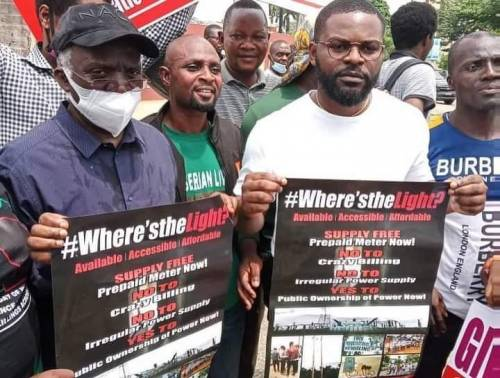 Falz and his father protest in Lagos