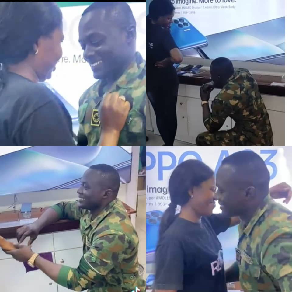 Soldier proposes to his girlfriend