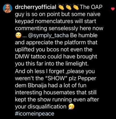 'Even DMW Tattoo Did Not Bring You Fame' - Dr Cherry & N6 Drag Tacha to Filth #Arewapublisize