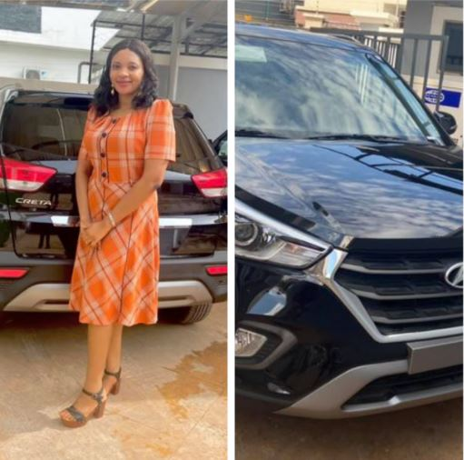 Adaobi shows off the brand new car