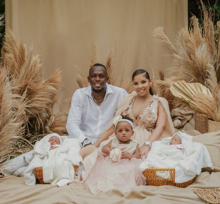 Usain Bolt and partner, welcome twins