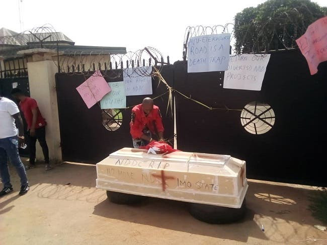 Coffin at NDDC office in Imo