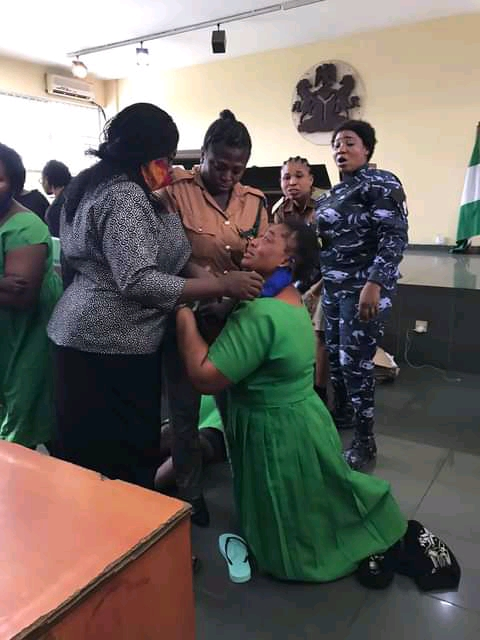 The women rolled on the floor saying they do not want to return to prison