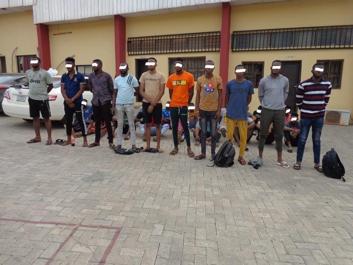 The suspected fraudsters arrested in Enugu