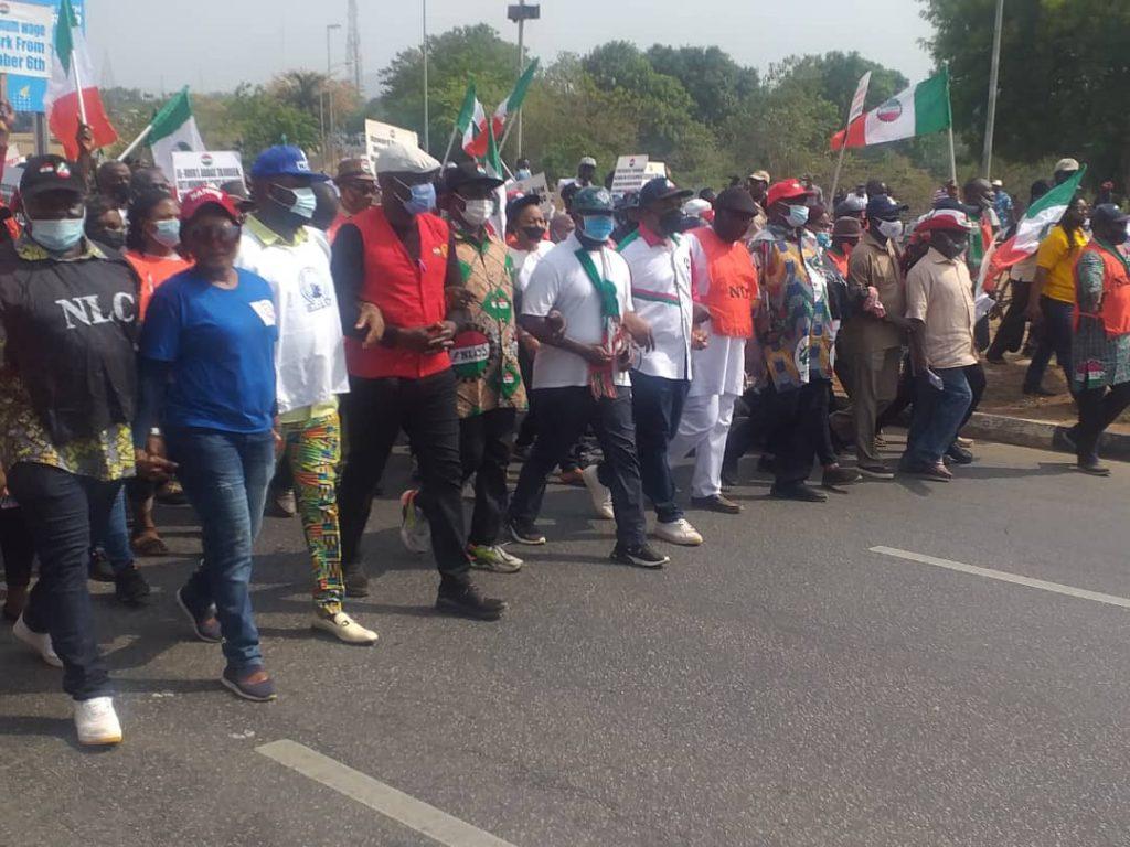 NLC members protesting in Abuja today