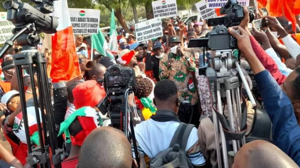 NLC protesting at the National Assembly