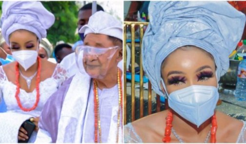 Alaafin of Oyo and his new wife, Chioma