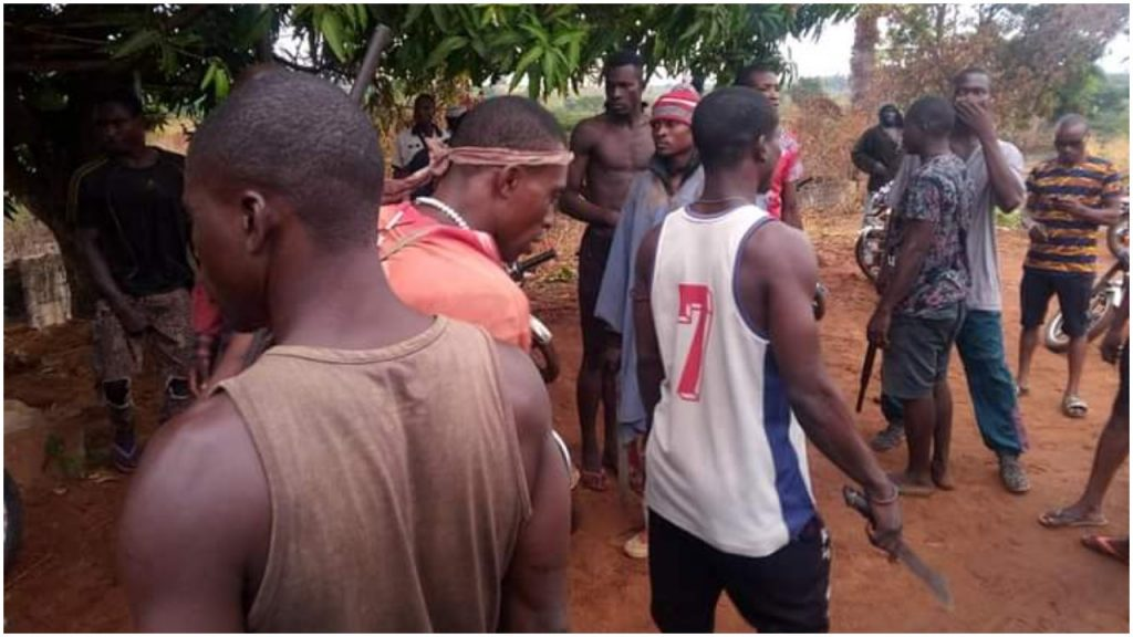 Drama As Anambra Community Youths Protest Alleged Criminal Activities, Kidnapping By Herdsmen