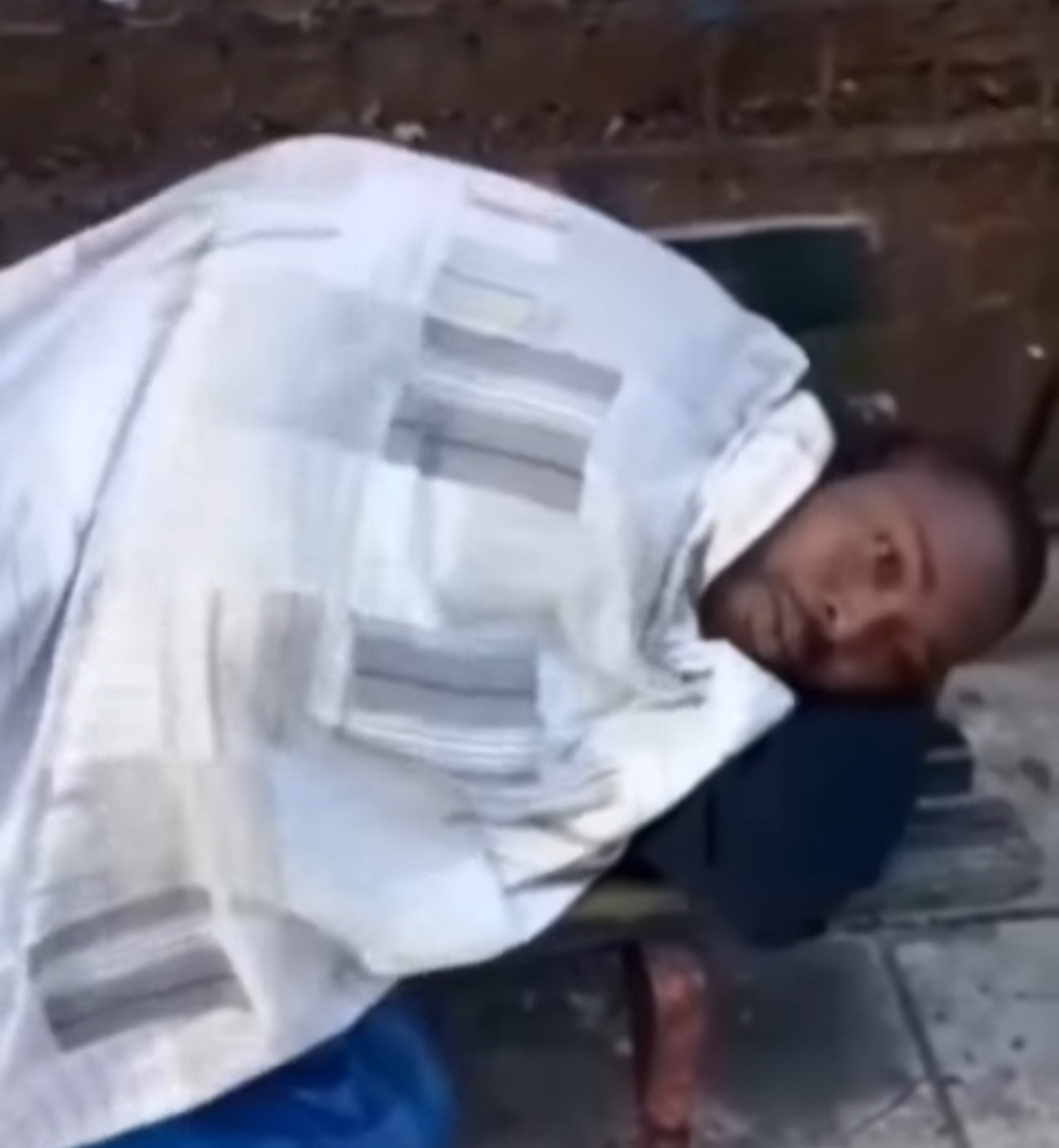 Man sleeping on the streets after being thrown out