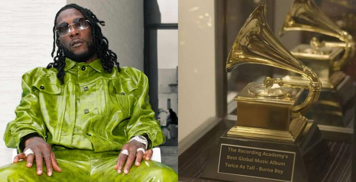 Burna Boy and his grammy plaque