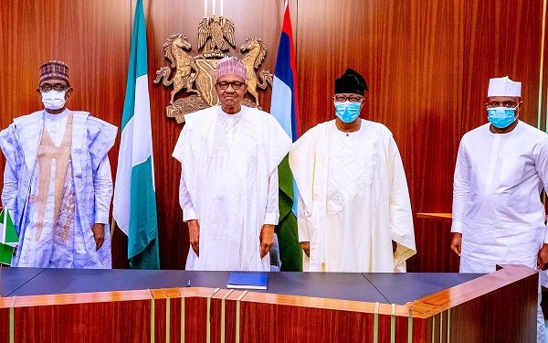 Bankole and others pose with President Muhammadu Buhari in Aso rock