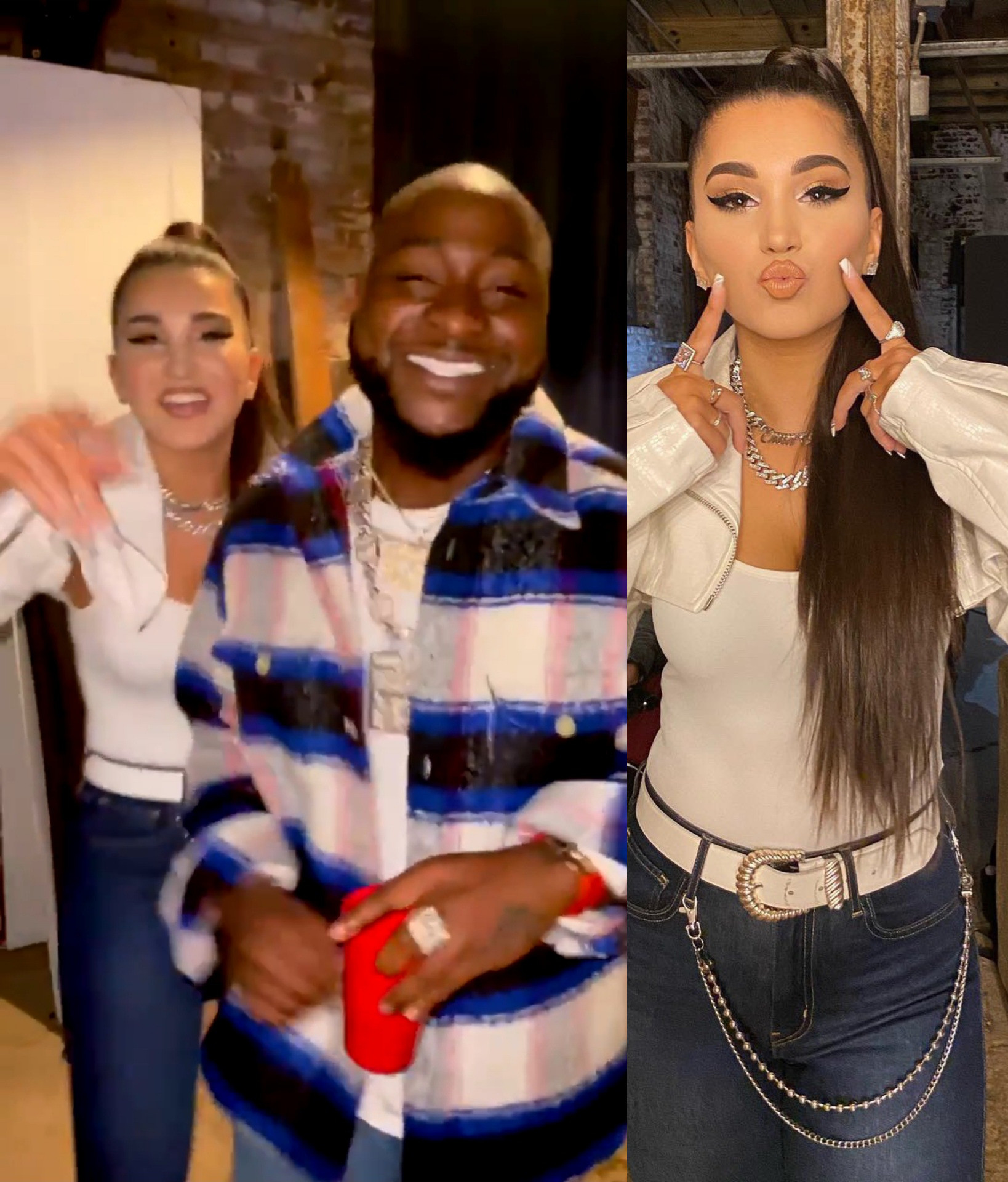 Enisa and Davido loved up photo