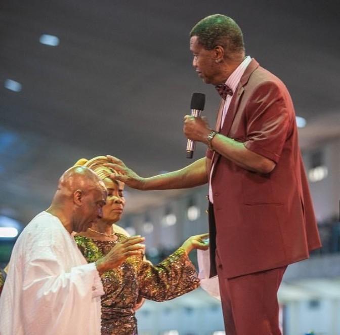 Pastor Adeboye praying for Oyedepo