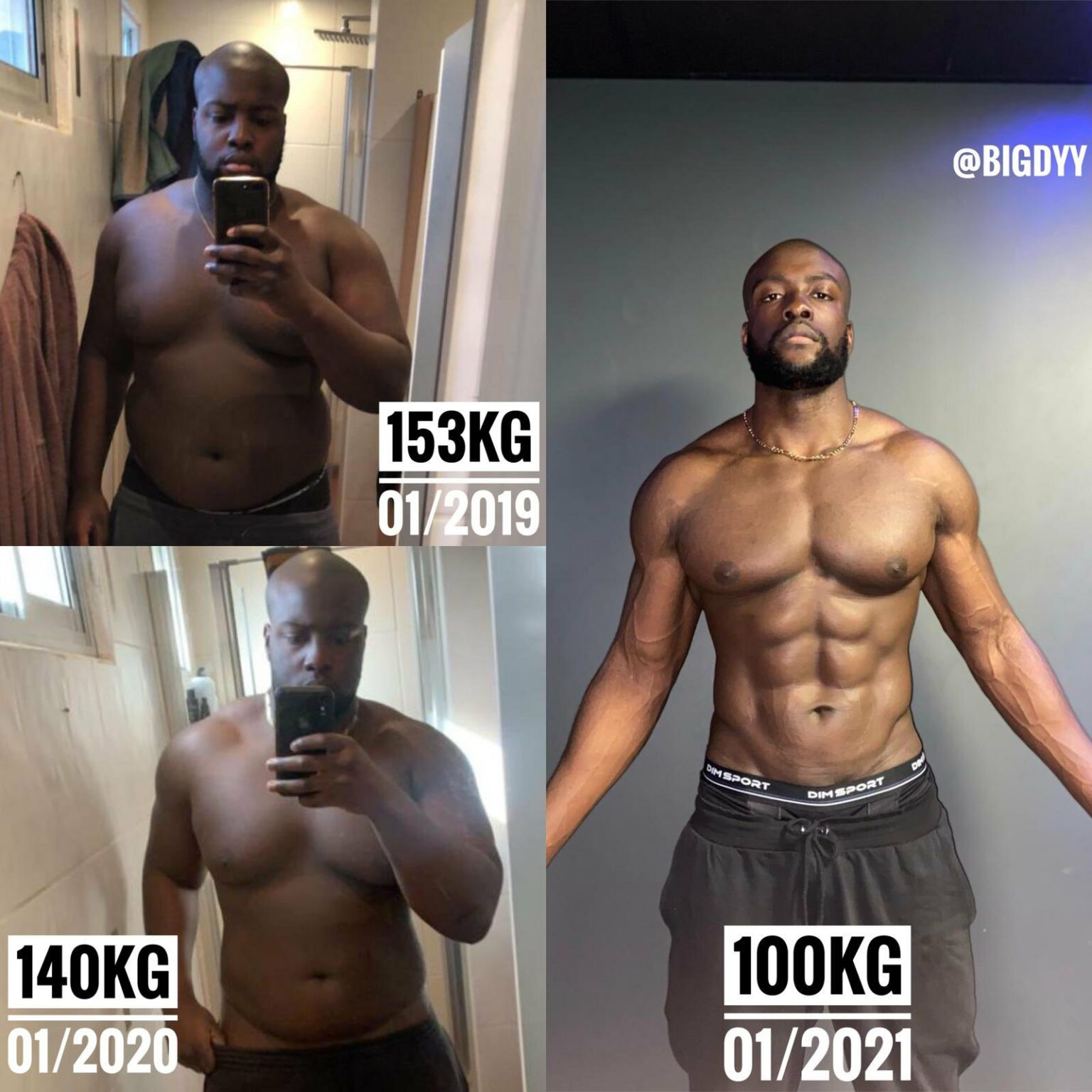 The man showed off his incredible body transformation on Twitter