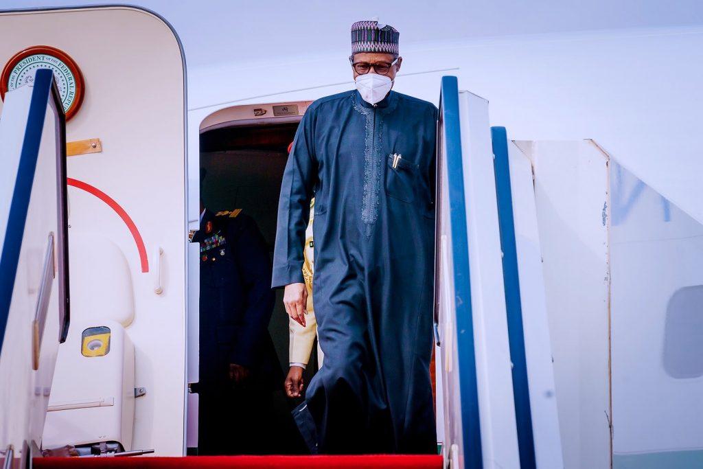 President Muhammadu Buhari returns from France