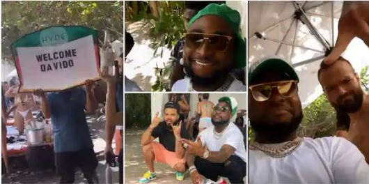 Davido having fun in the US with family and friends