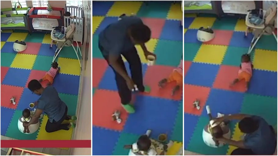 Caregiver caught maltreating an little baby