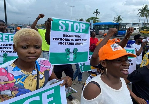 Protesters in Lagos on Friday