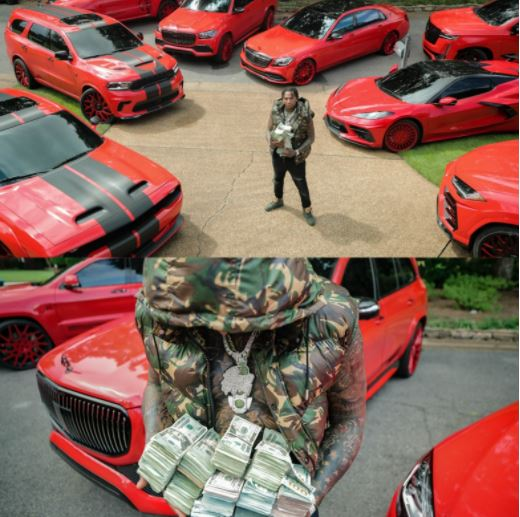 Moneybagg Yo shows off his cars and wads of cash