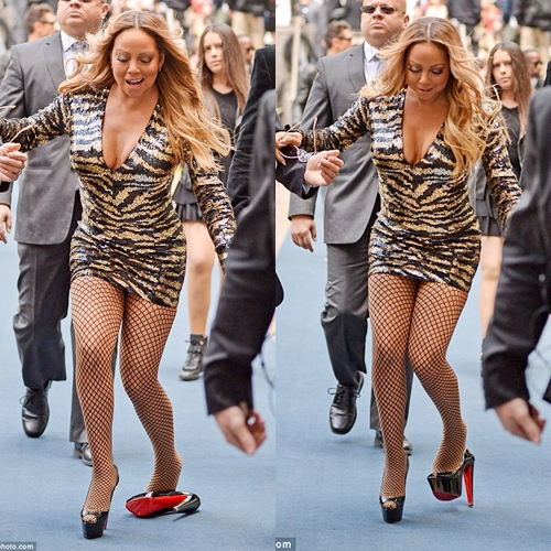 e0c7aebcc14f Mariah Carey stumbled in platform heels at the NBC Upfronts in New York on  Monday