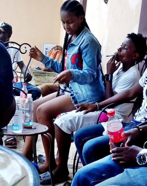 Gang Of Young Girls Alleged To Be Lesbians Seen Smoking Weed At A Hotel In Asaba Delta State Photos