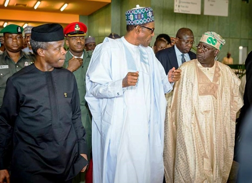 Image result for APC crisis: Buhari, Osibanjo, Tinubu,