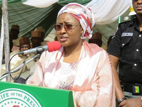 Image result for VIDEO: Aisha Buhari asks Nigerians to fight the 'two men hindering this government'