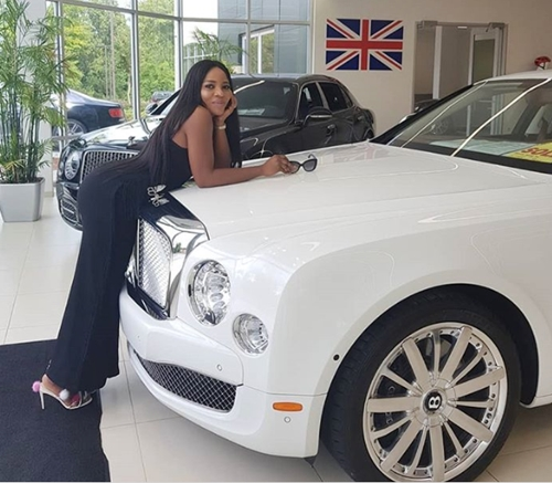 Image result for Linda Ikeji shows off her son's N120m Bentley, shares photos of Jayce in the car